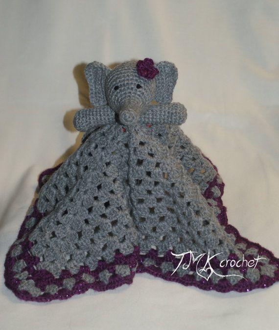 Crochet Elephant Lovey Blanket Security Blanket Baby Toy Baby Impressive Crochet Elephant Lovey Pattern