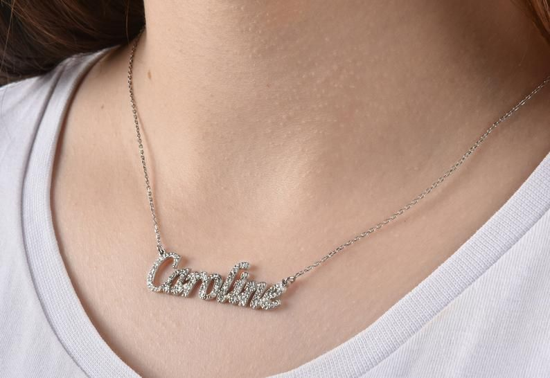 Photo of Gold Name Necklace, Cubic Zirconia Necklace, 14K Gold Necklace, 14K Solid Gold Name Cz Necklace, Per