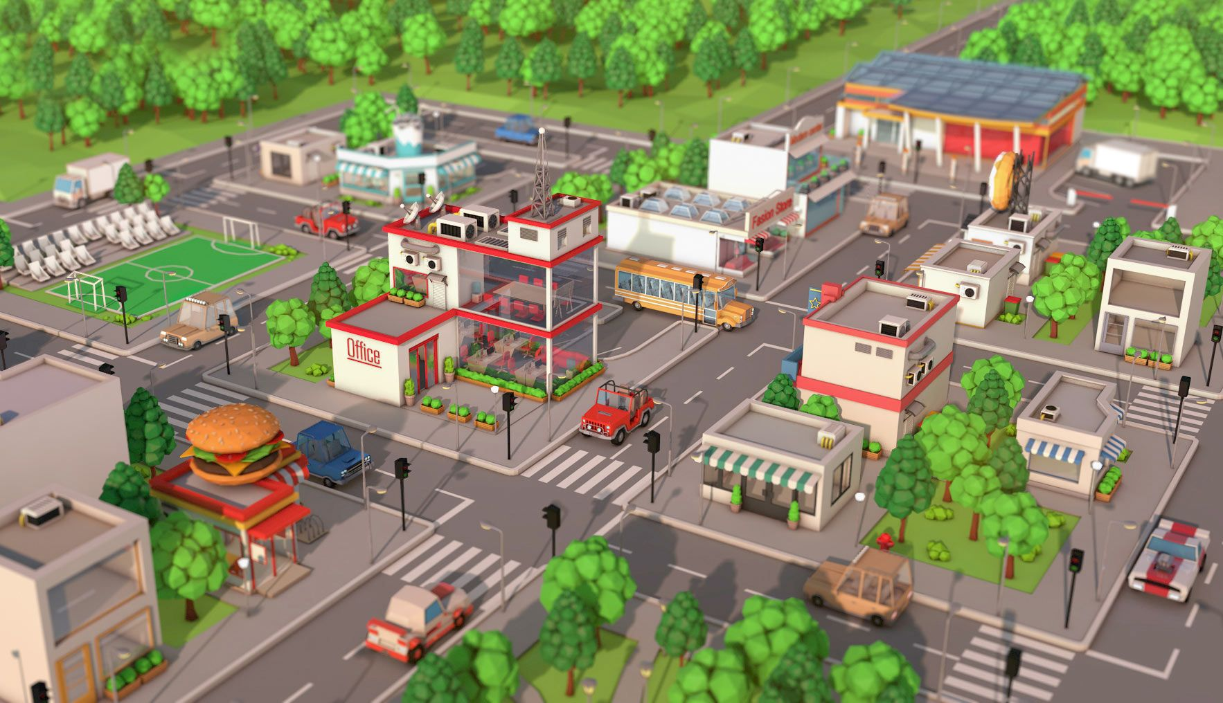 Low Poly City Pack Download 3D model Low poly, Cartoon
