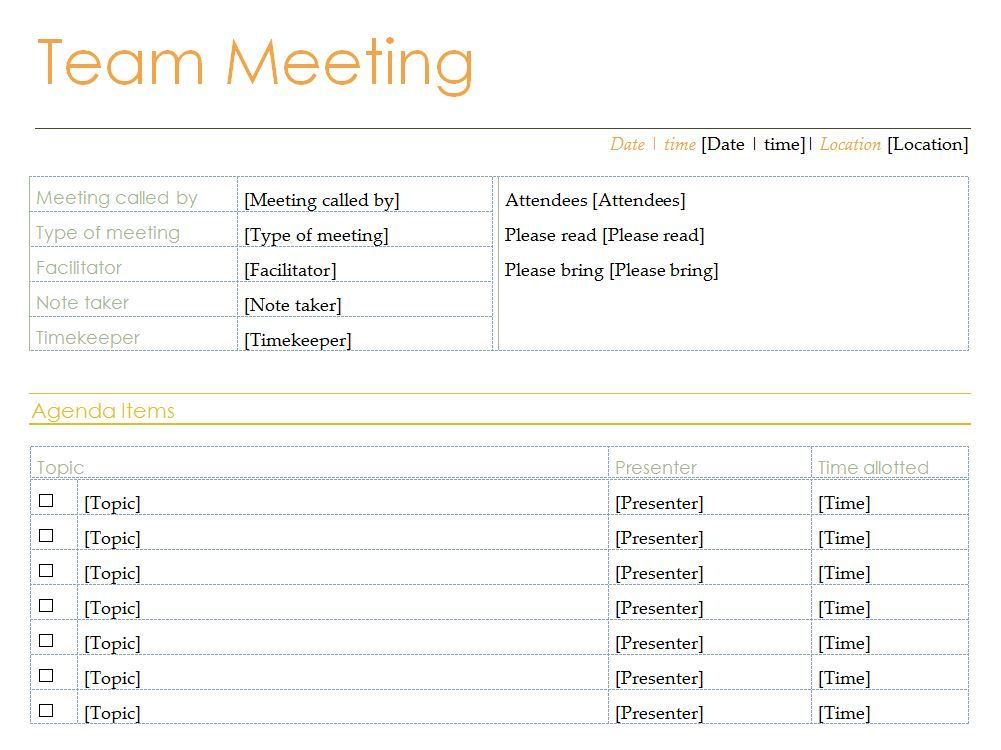 Free Team Meeting Agenda Template Gloria Pinterest Template - business meeting minutes template word