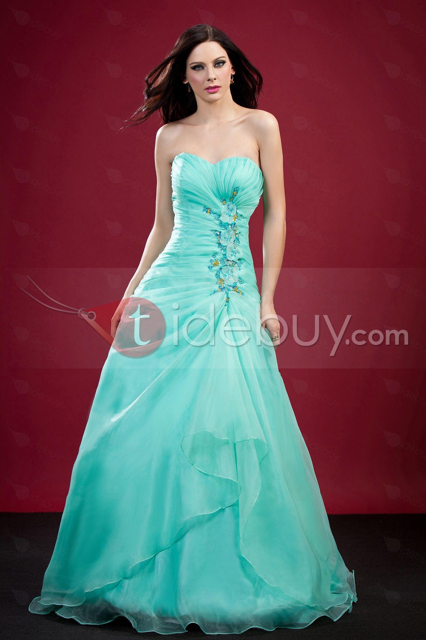 Auspicious aline floorlength sweetheart strapless polinaus prom