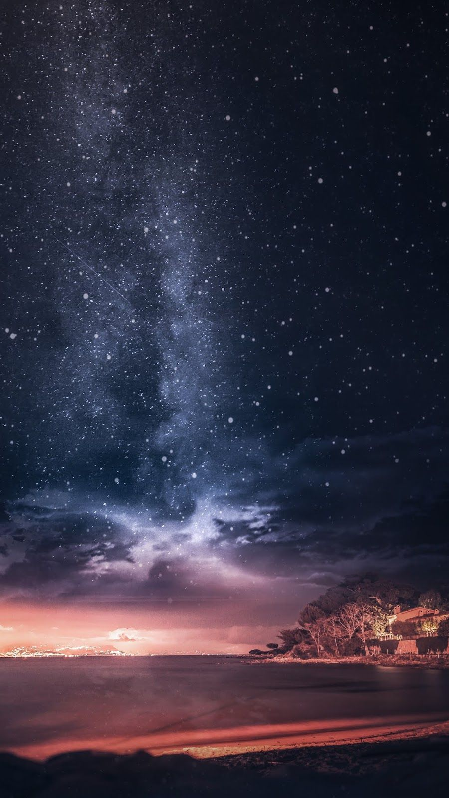Sunset On Starry Night Wallpaper Iphone Android Sunset Wallpaper Night Sky Photography 4k Background