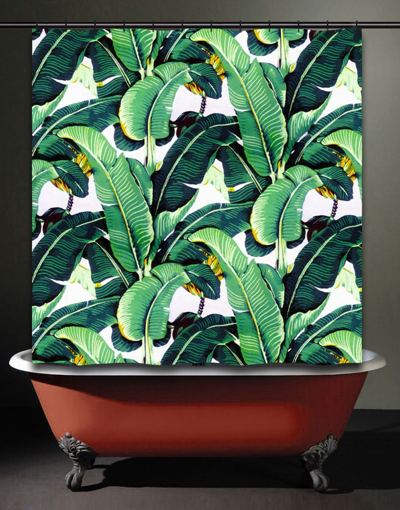 Brazilliance Banana Leaf Shower Curtain Tropical Jungle Martinique ...