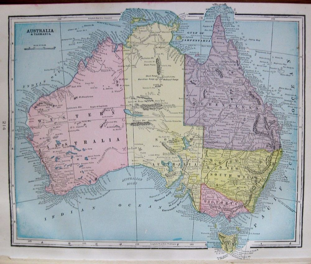 1899 Antique AUSTRALIA Map Vintage Map of Australia Gallery Wall Art ...