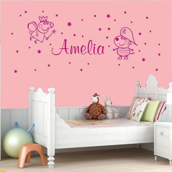 Personalised Name Girls Boys Bedroom Peppa Pig Wall Art Bedroom