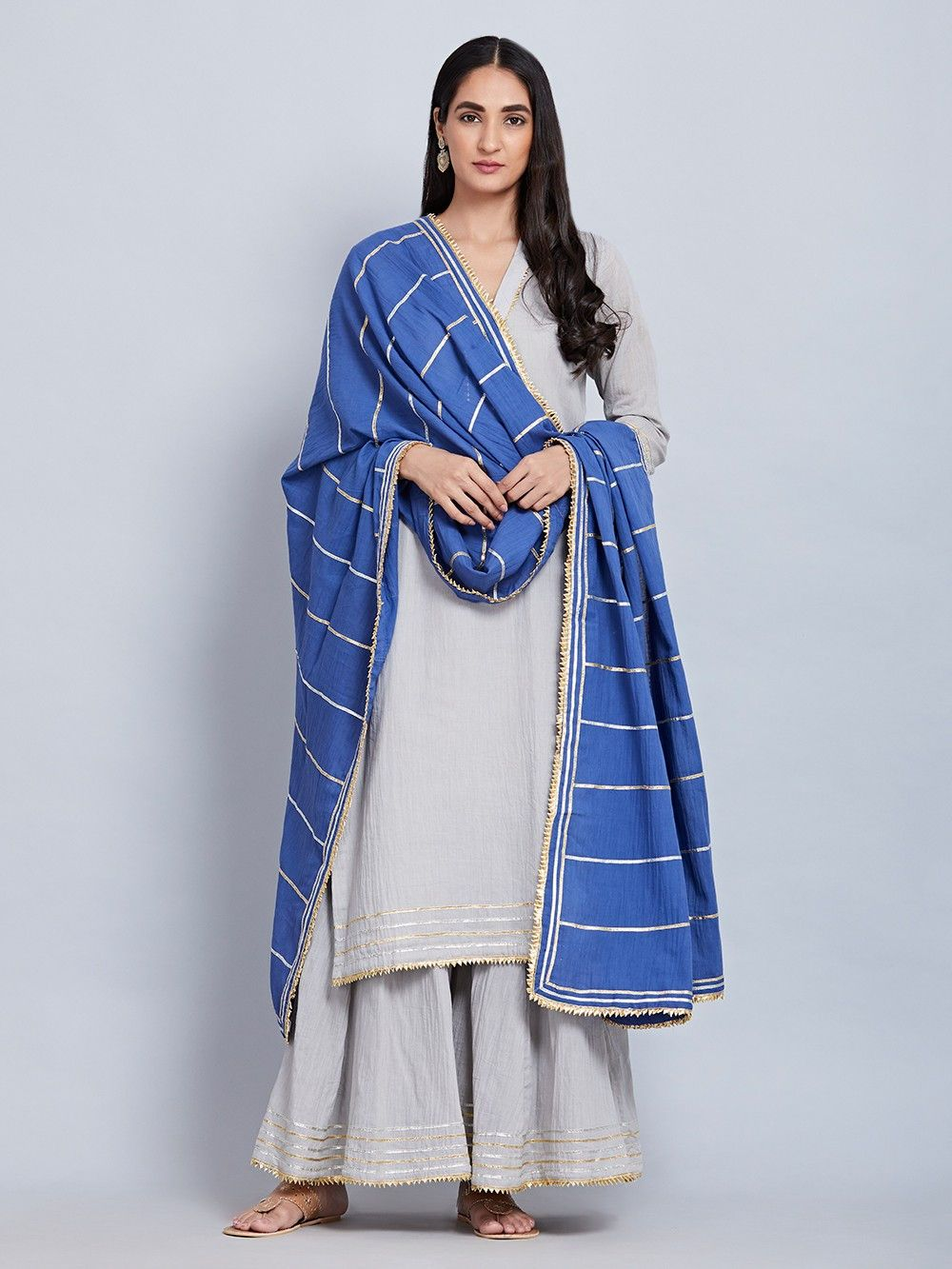 de9338f99e Buy Grey Cotton Mulmul Kurta with Sharara and Blue Gota Dupatta - Set of 3  online at Theloom