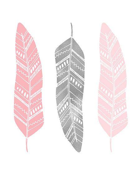 watercolor feather print set download pink mint green girl nursery bedroom wall art decor printable digital print instant download jpg