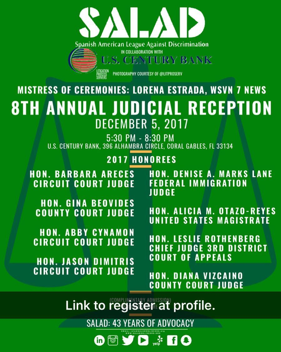 8th Annual Judicial Reception By The Salad And Our Grand Sponsor Us Century Bank Is Happening On Tuesday December 5th A Judicial Process Server Instagram Posts