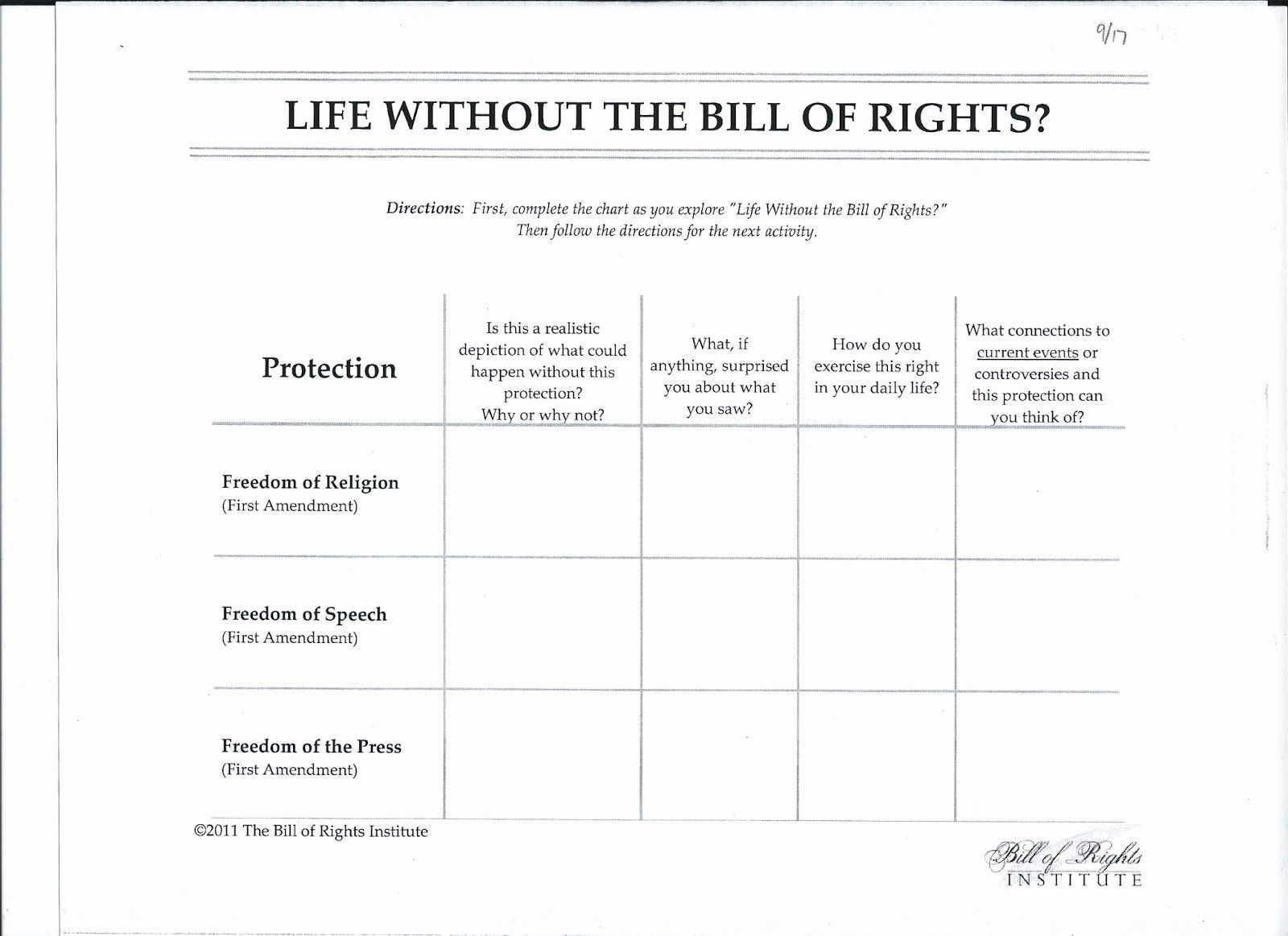 50 Bill Of Rights Scenario Worksheet In