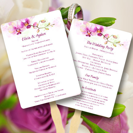 printable wedding program fan template orchid for tropical