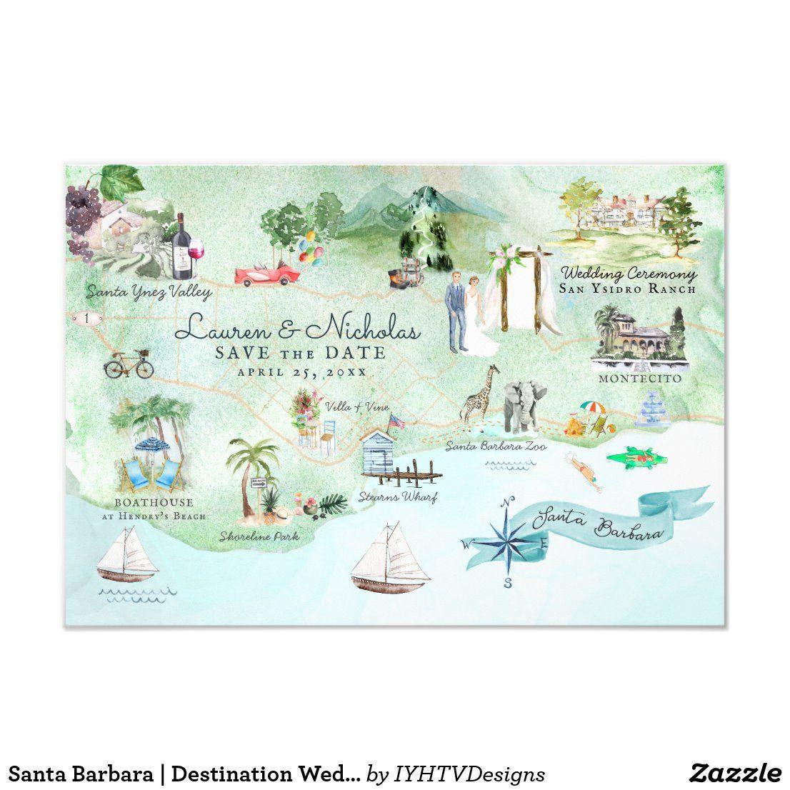 Santa Barbara Destination Wedding Itinerary Map