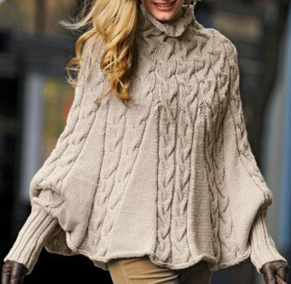 Hand Knit Turtleneck Poncho With Sleeves From Alpaca Blend Yarn