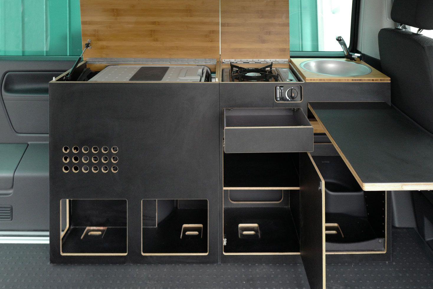 Verschiedene Ausbauvarianten Fur Die Zweiersitzbank Kochturm Kochmodul Kuhlboxschrank Hochschrank Campingbus Camping Ausbau Campingbus Ausbau