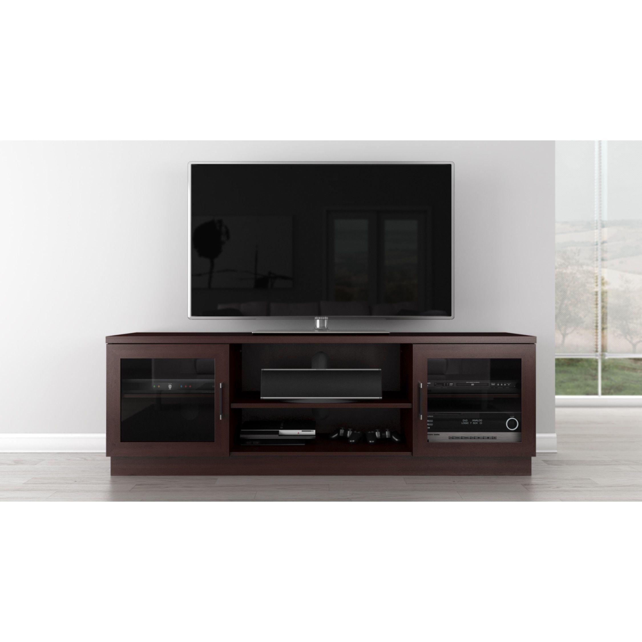 Furnitech Cappuccino Finish Cherry Wood Veneer Mdf 70 Inch 3 Shelf  # Meuble Tv Philips