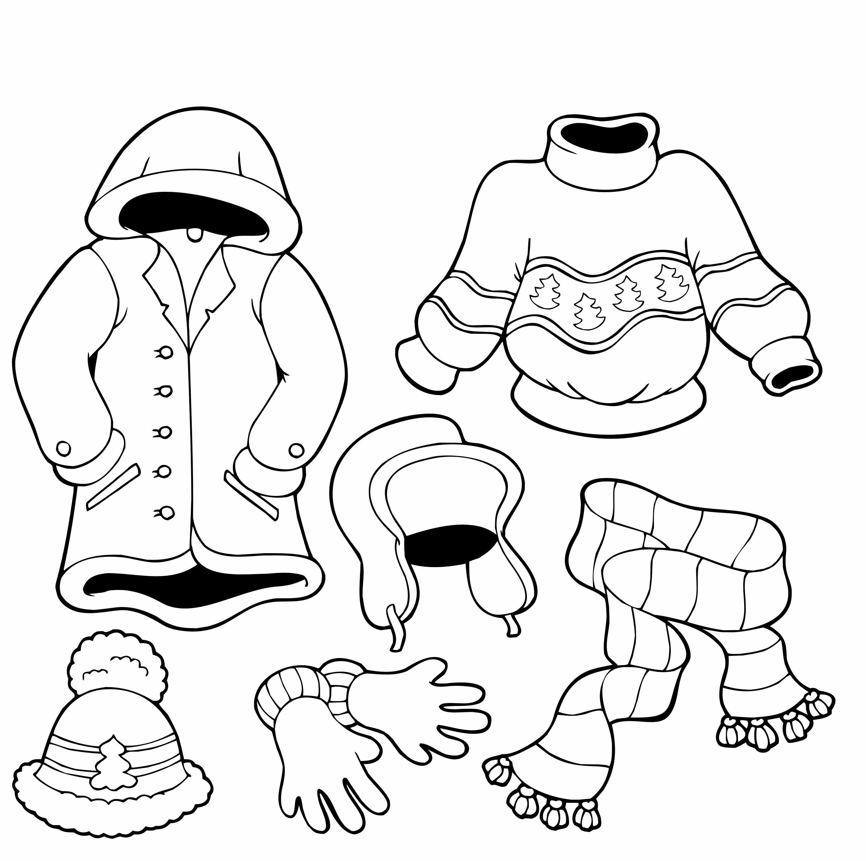 Clothes For The Cold Winter Coloring Pages Preschool