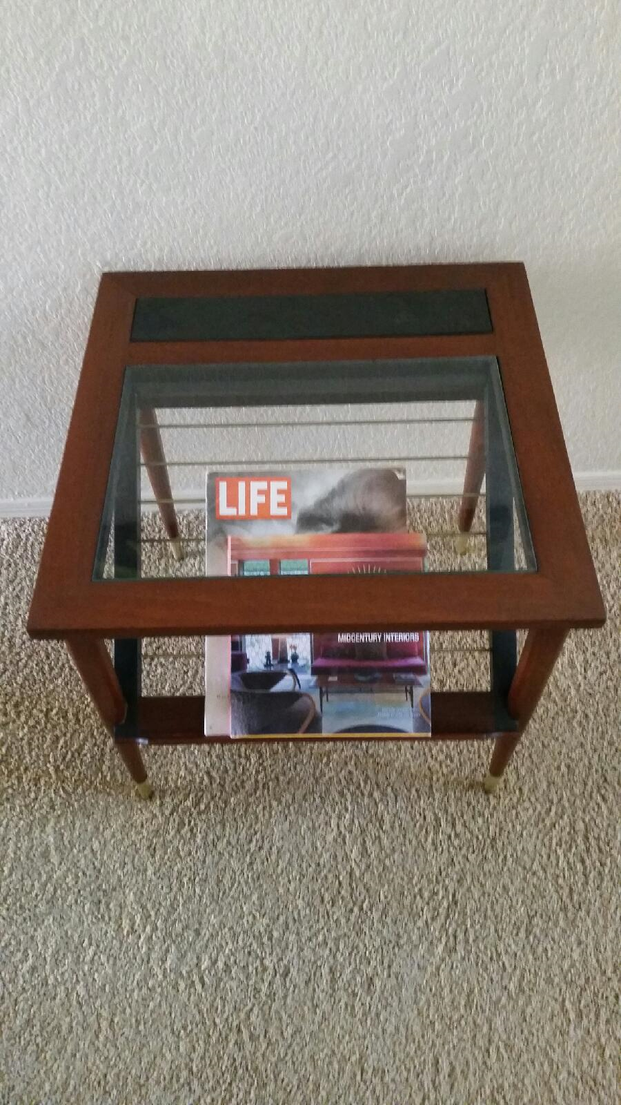 Rare Wieland Furniture Company Glass Topped End Table With Book Magazine  Display Shelf.