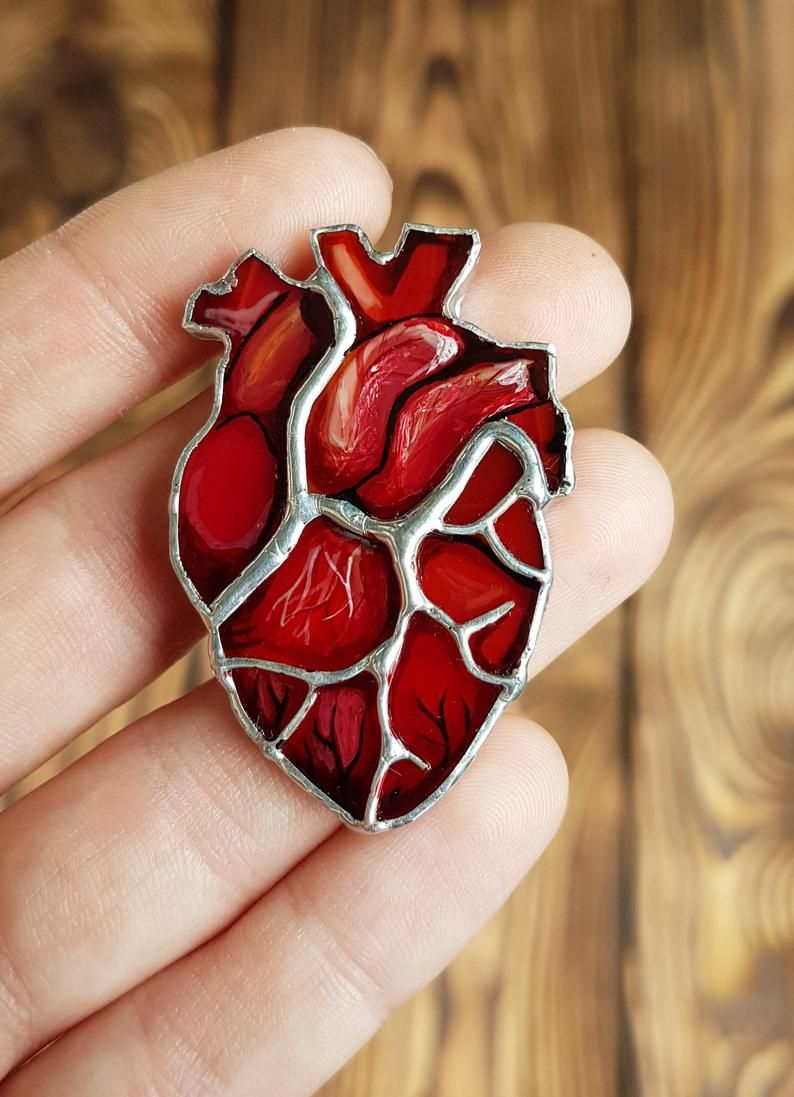 Anatomical Heart Brooch Real Anatomy Pin Stained Glass Tiffany Technigue Doctor Gift Medical Student Gift Nurse Gift Human Heart Halloween Stained Glass Art Stained Glass Paint Glass Heart