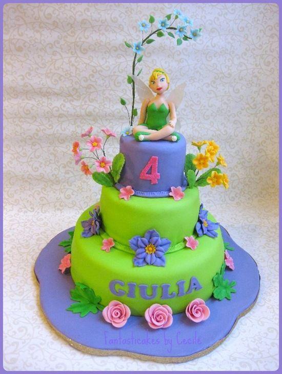 Tinker Bell Birthday Cake Tinker Bell and Flowers Cake Tinker