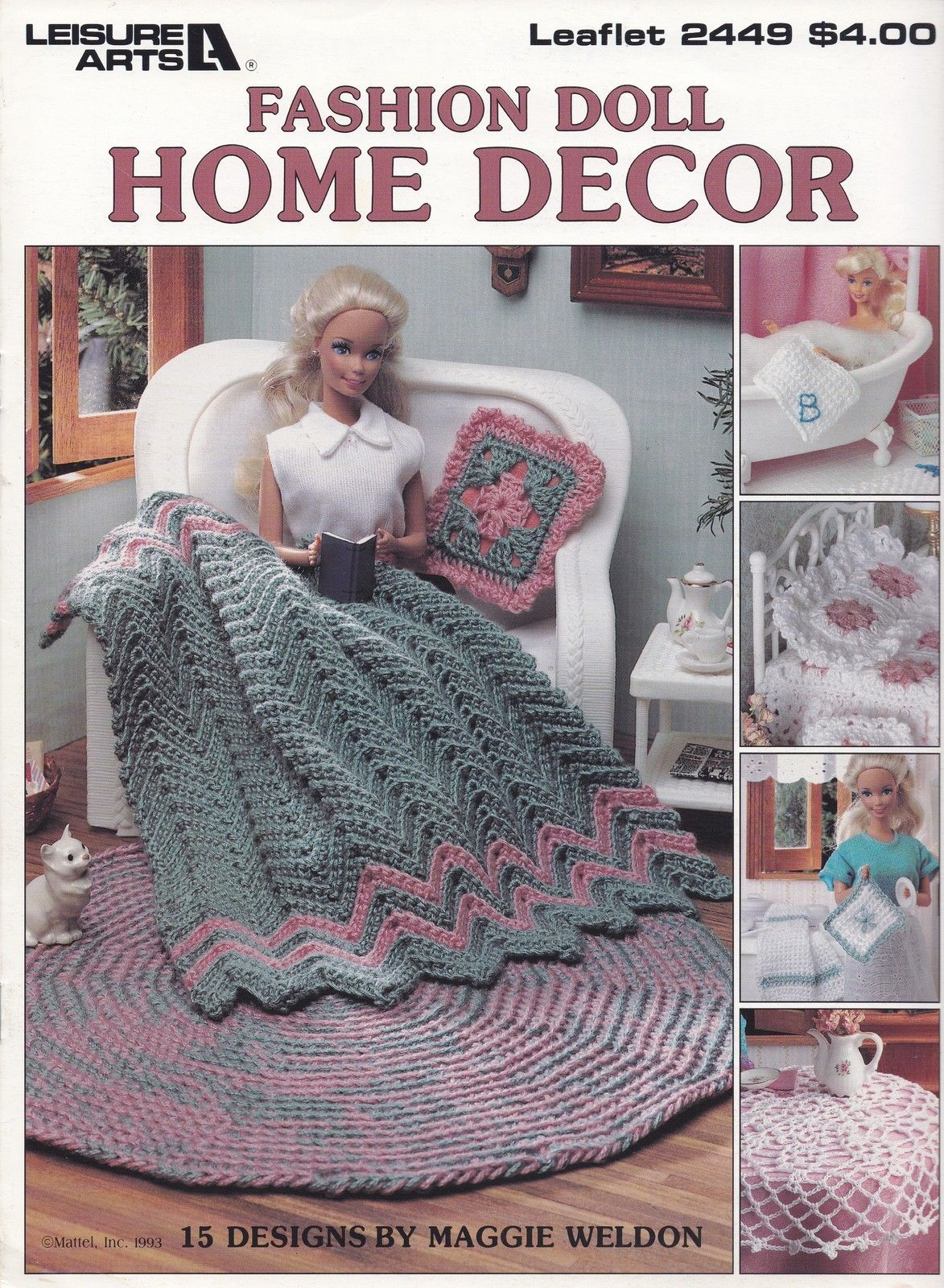 Fashion Doll Home Decor, Leisure Arts Crochet Pattern Booklet 2449 Accessories - Patterns-Contemporary