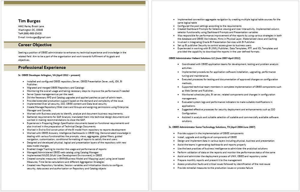 OBIEE Administrator Resume