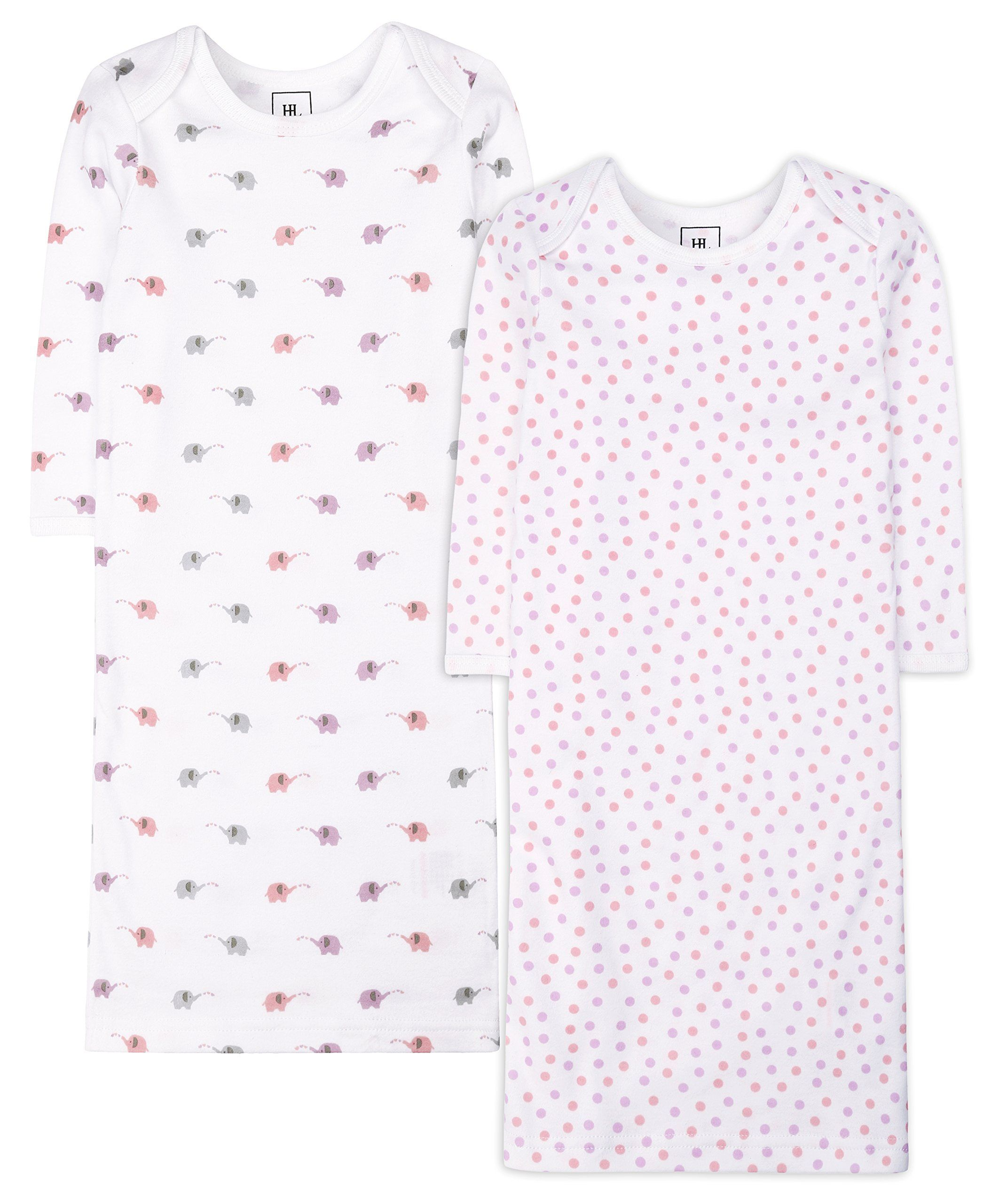 Baby boy and girl 2 Pack Gowns Cotton Printed Sleepwear Animals ...
