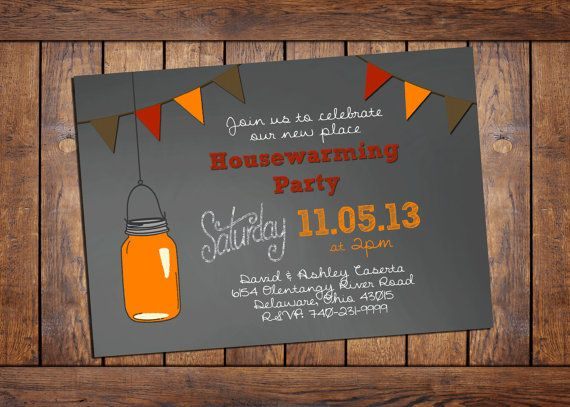 housewarming party invitation on chalkboard background