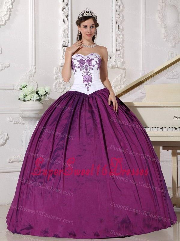 Affordable White and Dark Purple Sweet 16 Dress Sweetheart Taffeta ...