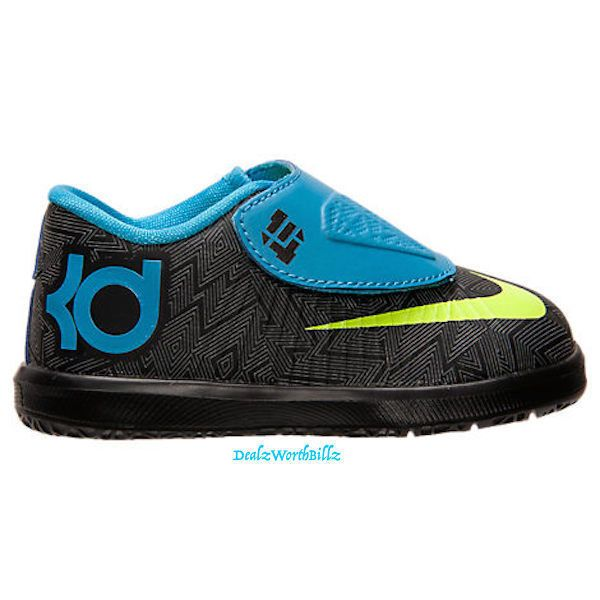 kids shoes Nike KD 6 PS basketball lime blue black boy Size 9C Toddler new #