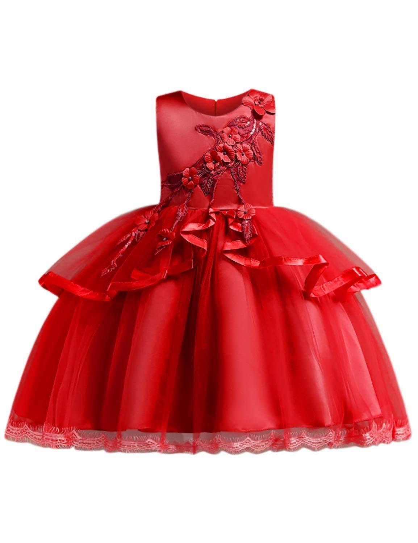 Girls sleeveless ruffles dresses kids ball gown in girl