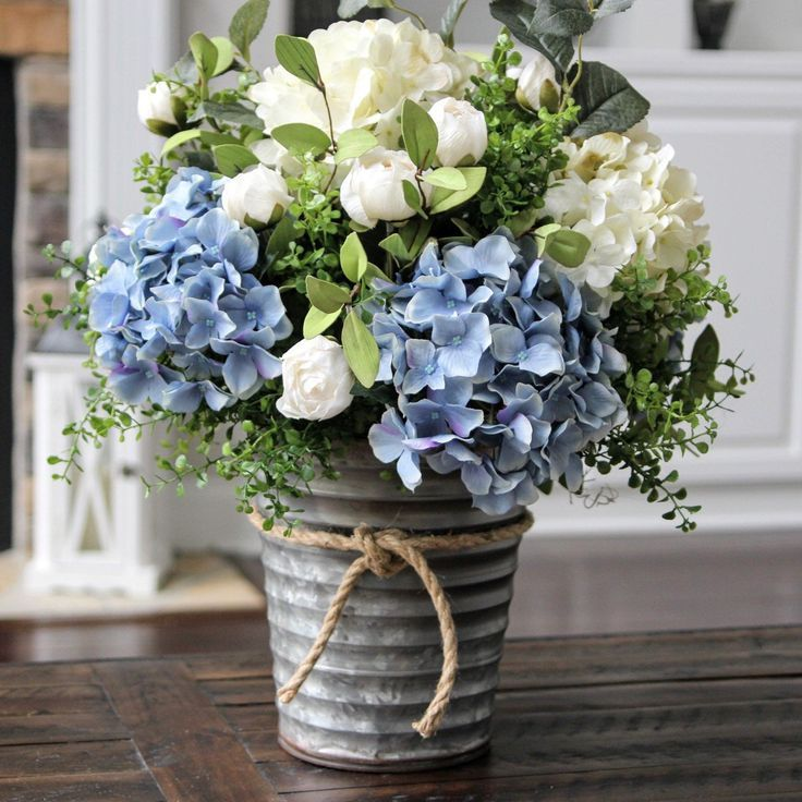 Photo of Farmhouse Rustic Decor, Silk Floral Arrangement, Table Centerpiece, Hydrangea Arrangement in a Galvanized Pail – Floral Decor
