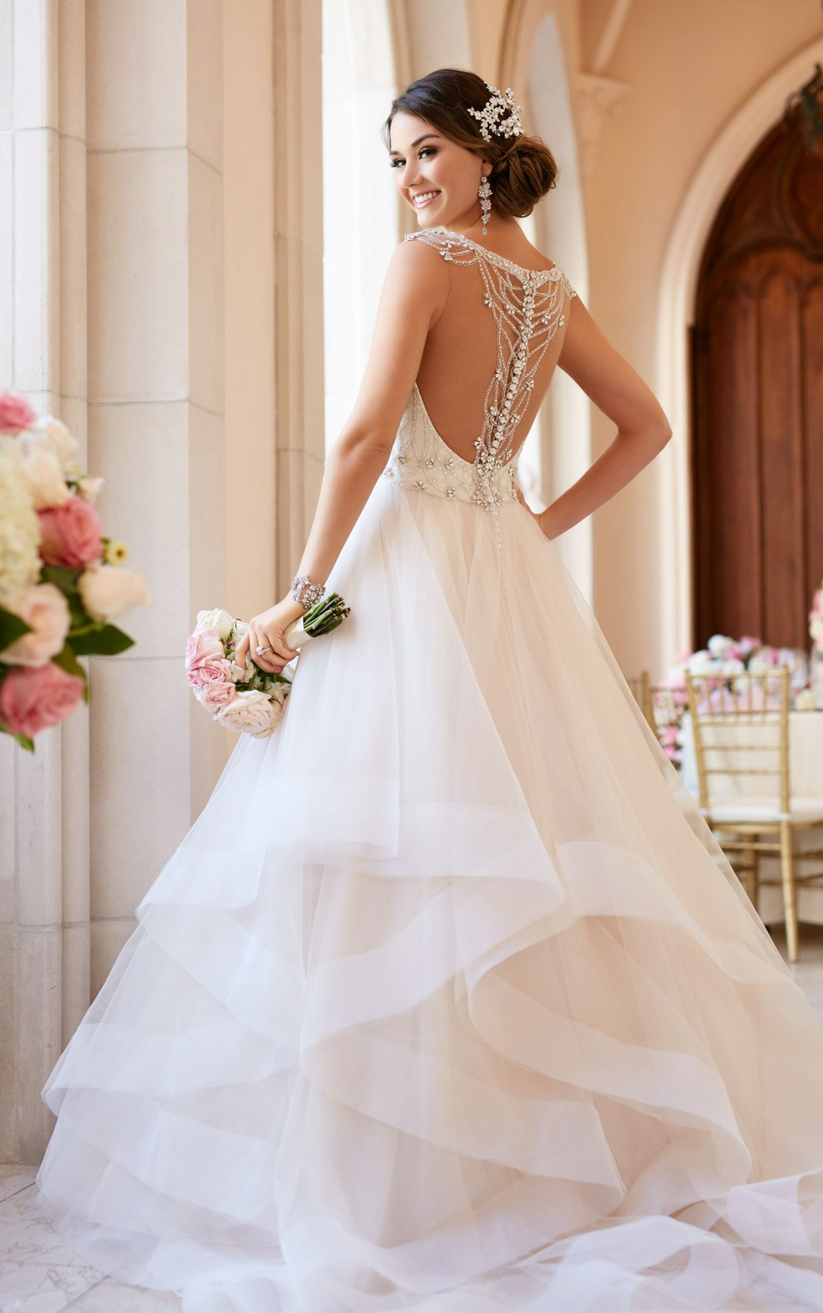 Beaded Lace Wedding Dress With Sweetheart Neckline Stella