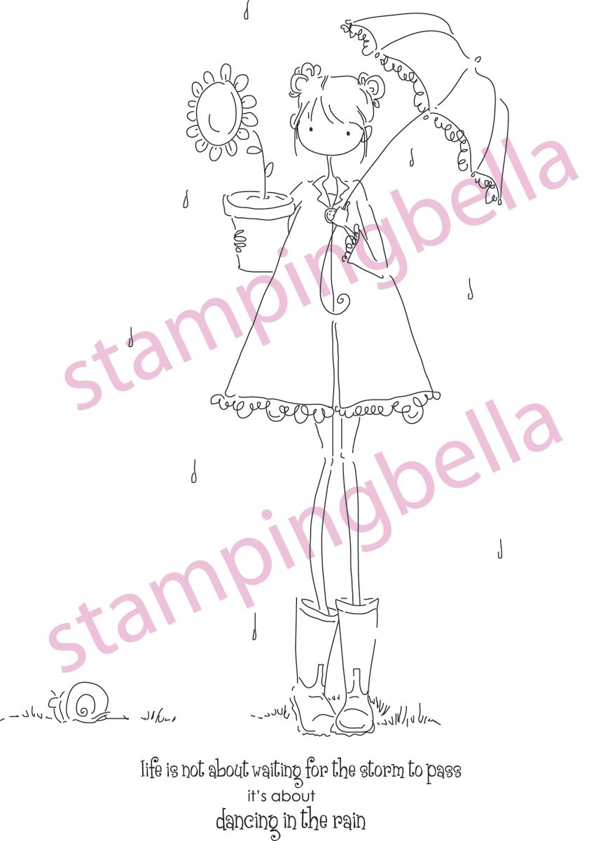 Stamping Bella Unmounted Rubber Stamp Uptown Girl Lolly And Her Brolly Digitale Stempels Meisjes Tekenen Teksten