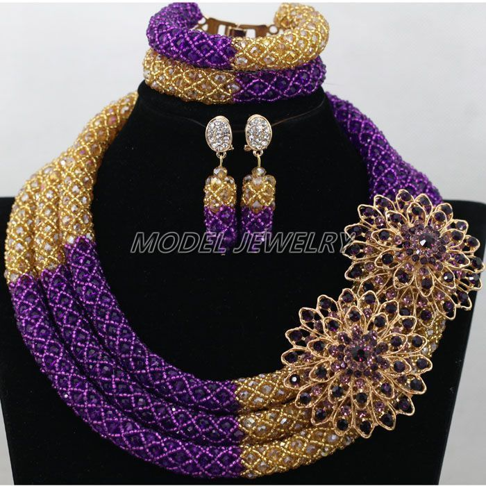Purple Gold African Crystal Beads Jewelry Set,Chunky Gold Plated ...