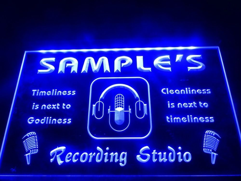Personalized Neon Signs Glamorous Dz043 Name Personalized Custom Recording Studio Microphone Led Neon Design Ideas