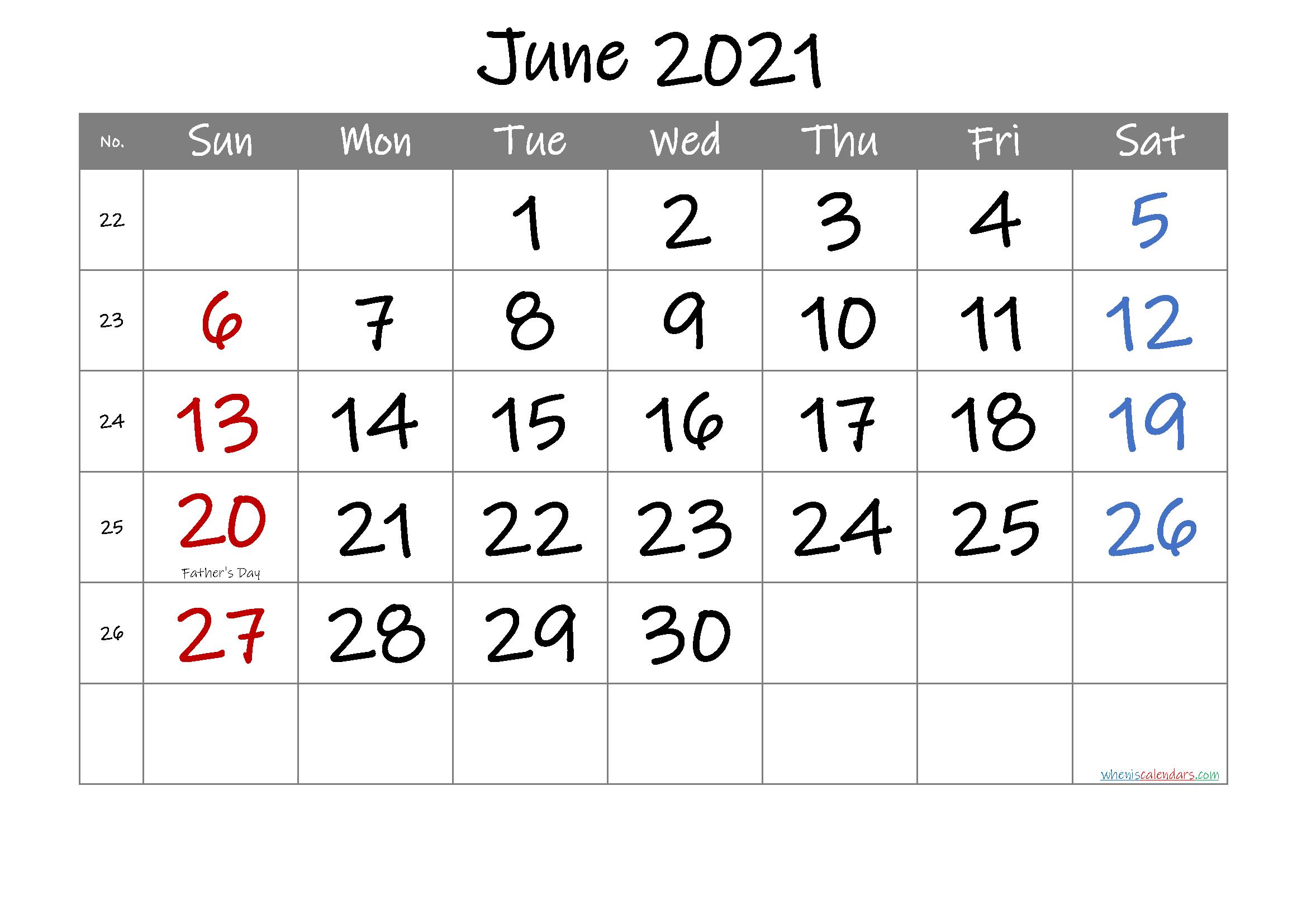 Free Printable June 2021 Calendar In 2020 June Calendar Printable Calendar Printables Printable Calendar