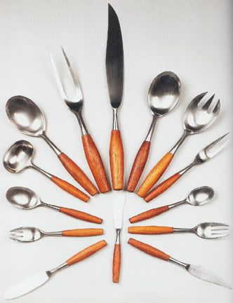 Fjord cutlery, 1953, teak and stainless steel by danish designer Jens H. Quistgaad