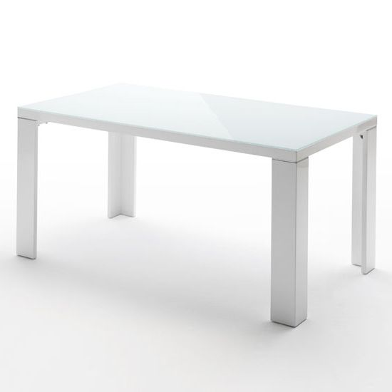 Tizio Glass Top Dining Table In White High Gloss 140cm