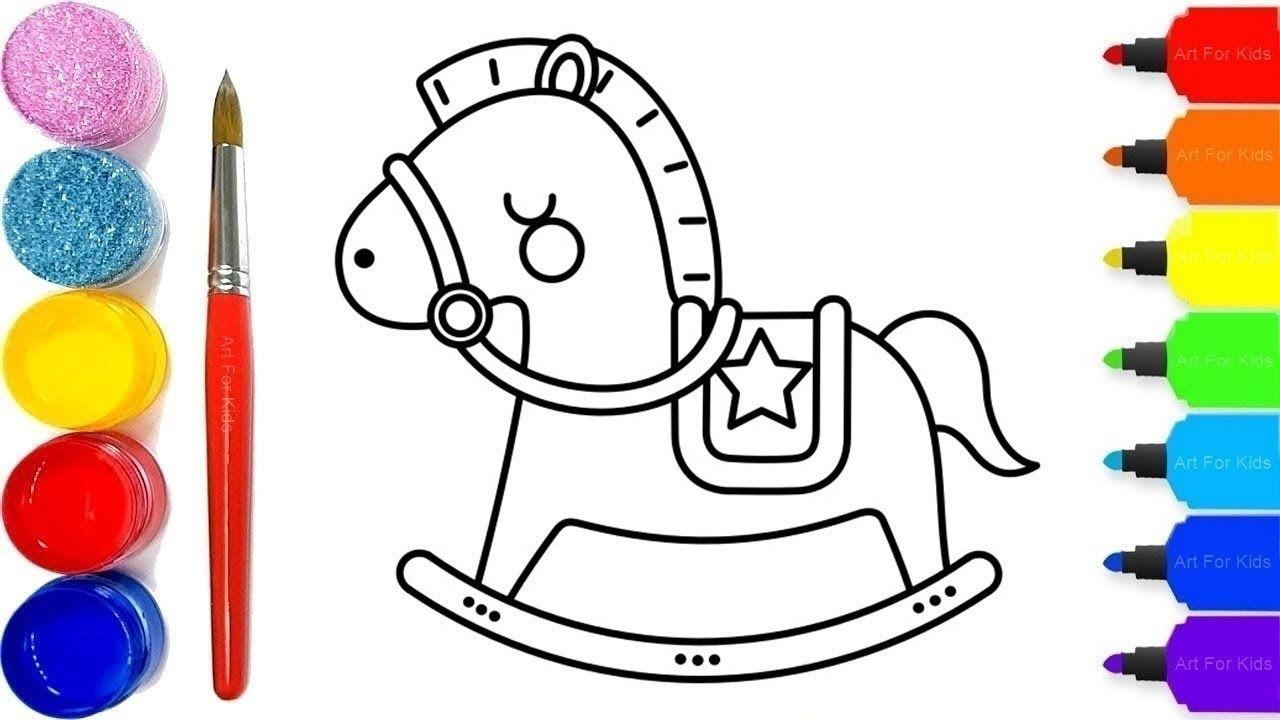 Drawing And Coloring Baby Toy Horse Flat For Kids