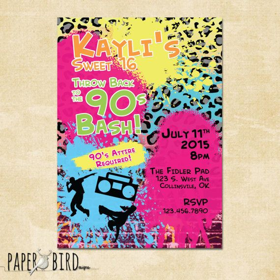 90s Throwback Birthday Invitation Hip Hop Invite Birthday