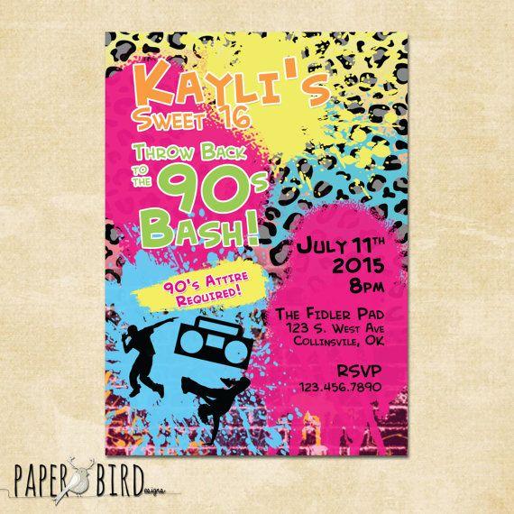 90s Throwback Birthday Invitation Custom Invite By PaperBirdesign