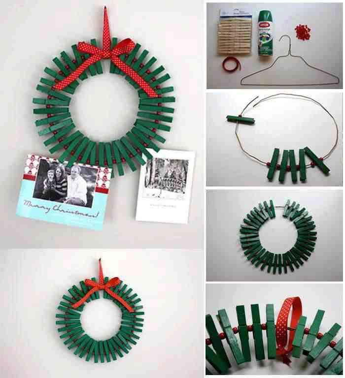 Christmas wreath/card holder with pegs