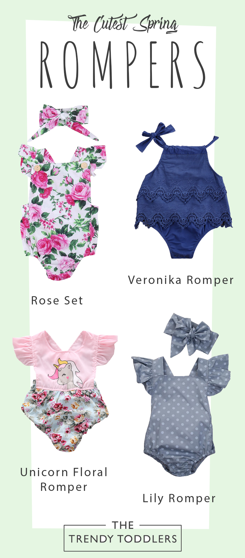 54299d829f68 SALE 70% + FREE SHIPPING! SHOP Our Collection of Cute Spring Rompers ...