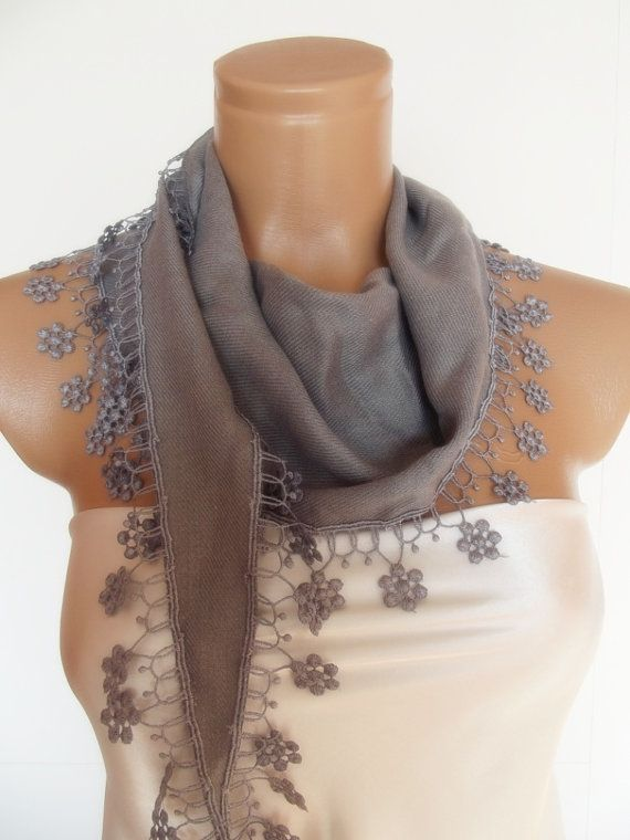 New Design Pashmina scarf with lace light grey gray by smilingpoet, $18.90