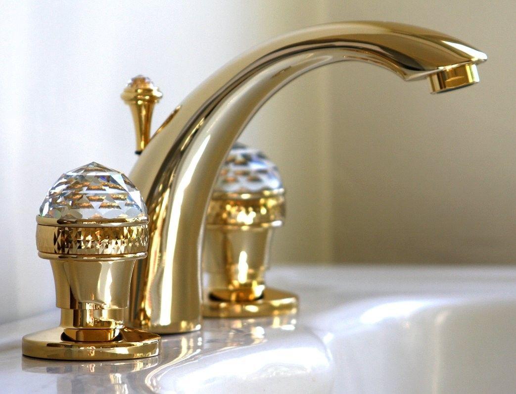 Goldene 3 Loch Waschtischarmatur Gran Boromes Mit Swarovski Elements Kristallen Armaturen Bad Badarmaturen Armaturen