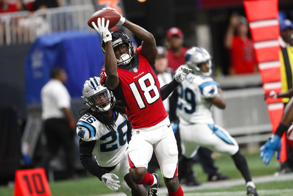 See Calvin Ridley Catch His First Nfl Touchdown Pass Falcons Rise Up Nfl Calvin