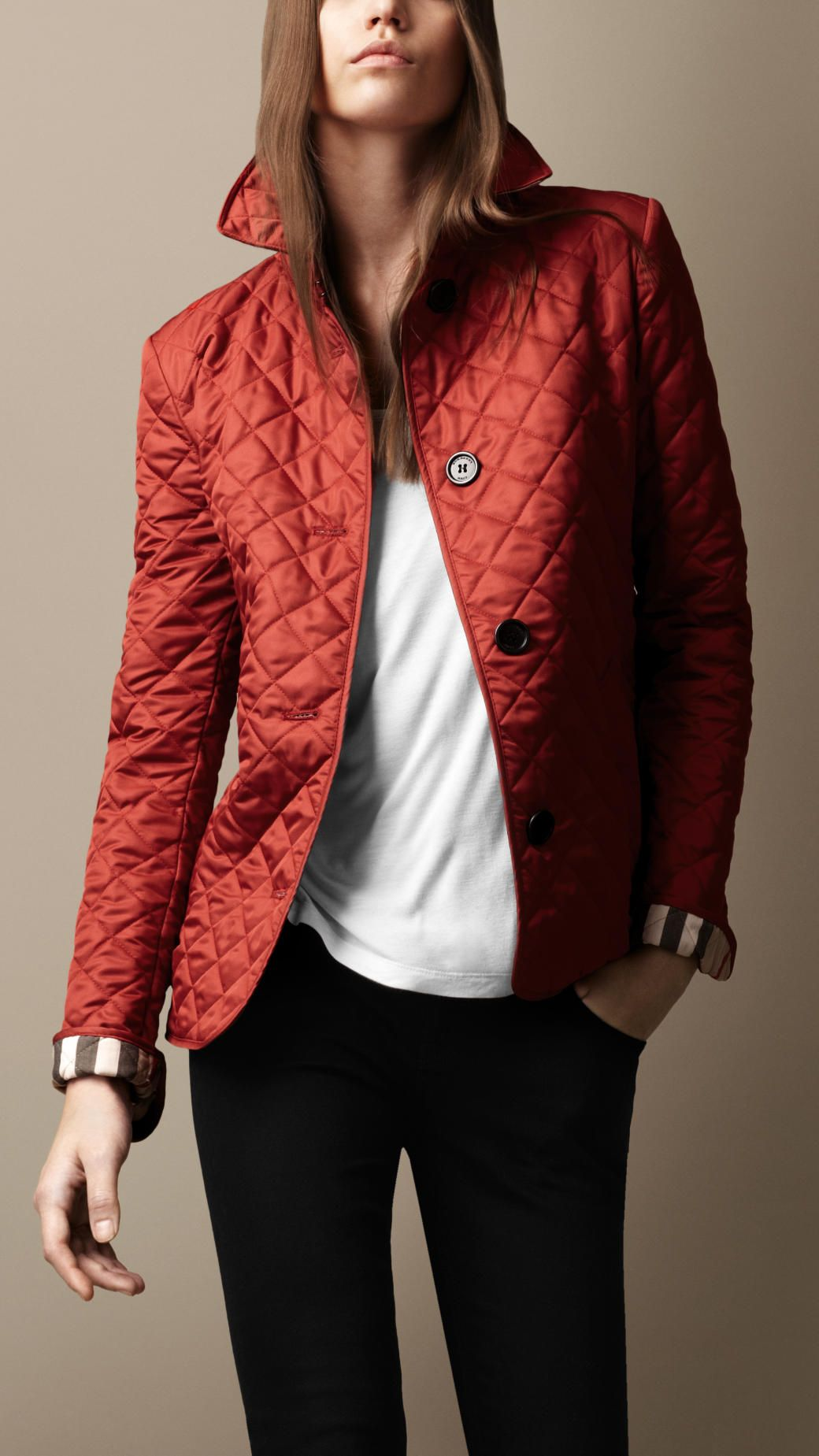 Red Burberry Quilted Jacket Things That Girls Like Pinterest