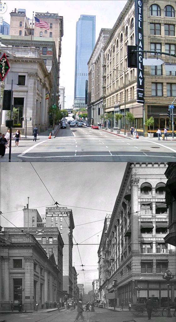 Looking West On 4th Street Across Main Street 1908 And Now Los Angeles History Vintage Los Angeles California History