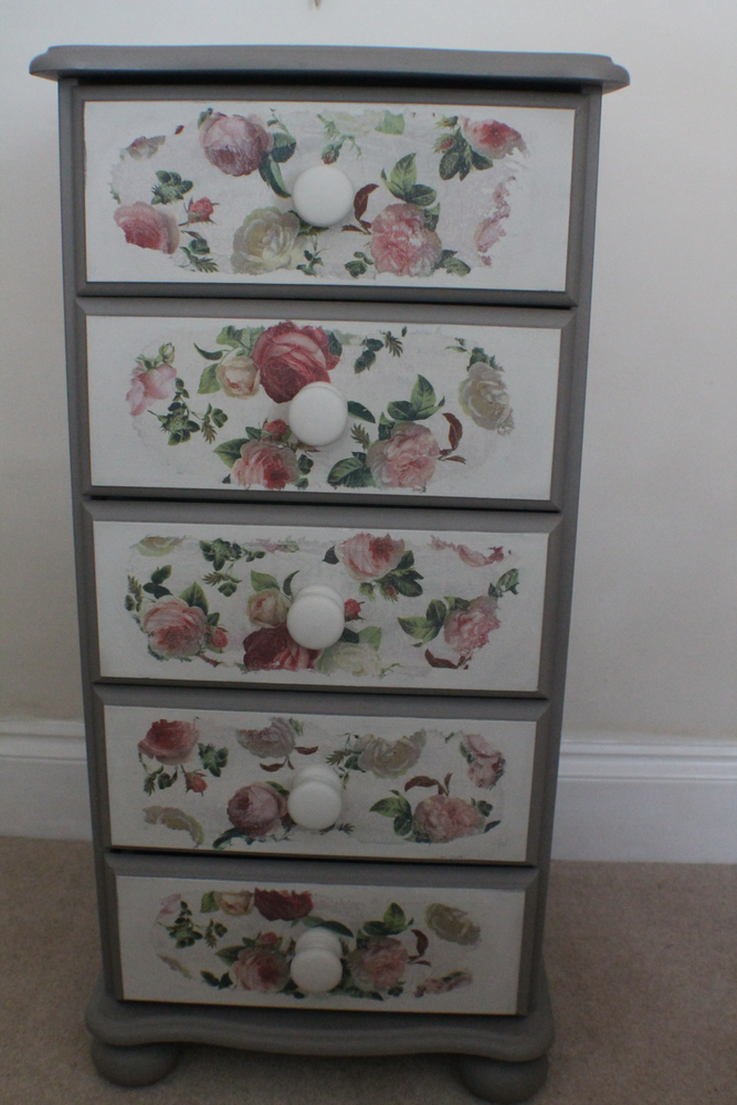 Best A Delightful Decoupaged Five Drawer Slim Chest Of Drawers 400 x 300