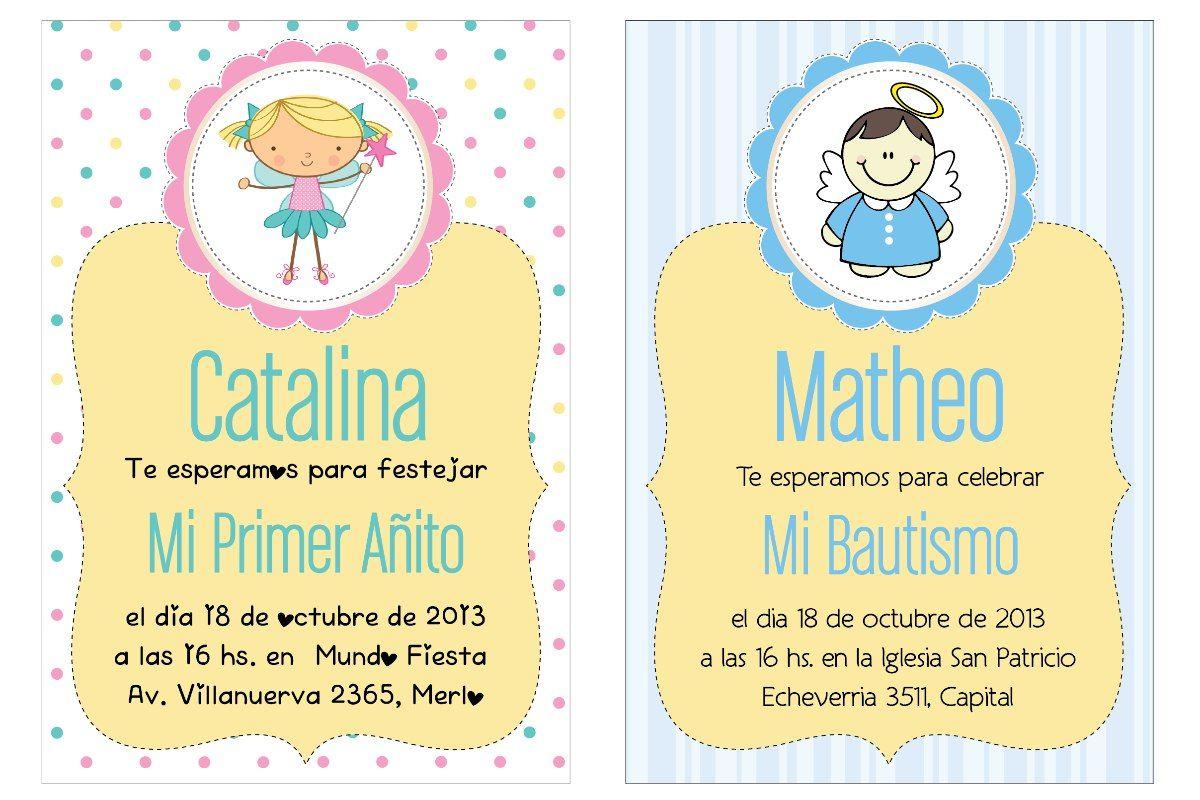 Invitaciones Cumpleaños 1 Año Para Pantalla Hd 2 Tarjetas