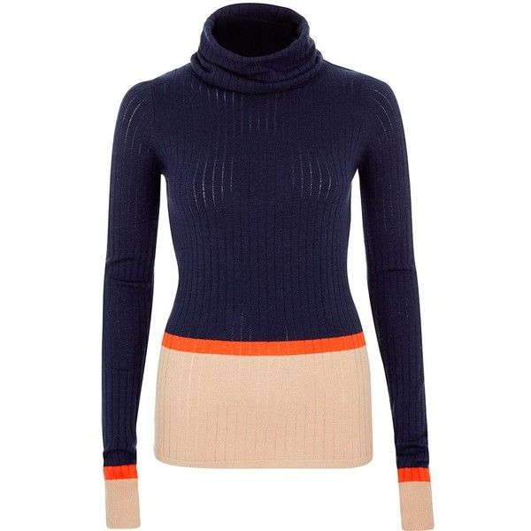 River Island Navy ribbed stripe roll neck top ($12) ❤ liked on Polyvore featuring tops, sweaters, blue, sale, navy striped sweater, navy top, blue sweater, roll neck sweater and blue top